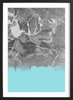 Crayon Marble and Sea Prints affiche sous cadre en bois