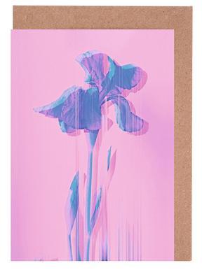 Glitcherd Iris on Pink wenskaartenset