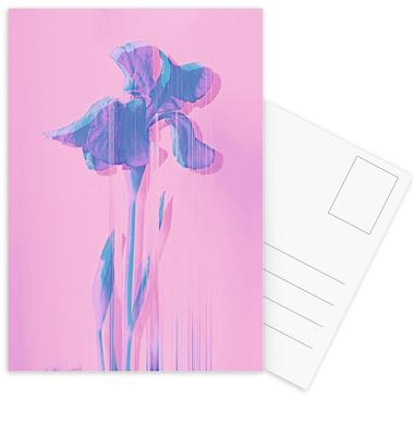 Glitcherd Iris on Pink ansichtkaartenset
