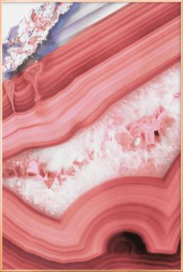 Agate Living Coral poster in aluminium lijst