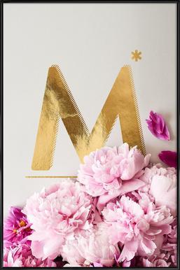 Flower Alphabet M -Bild mit Kunststoffrahmen