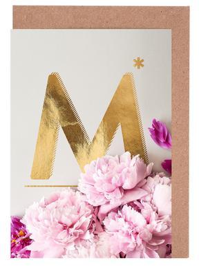 Flower Alphabet M -Grußkarten-Set