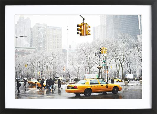 New York Winter Day -Bild mit Holzrahmen