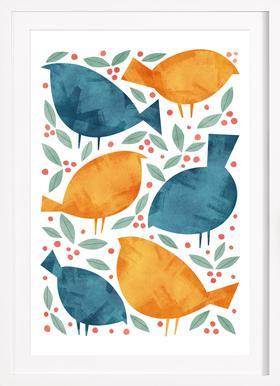 Birds - Poster in Wooden Frame