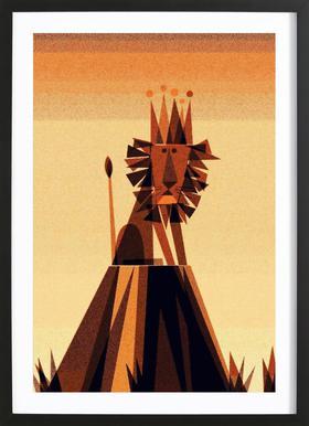 Lion King -Bild mit Holzrahmen