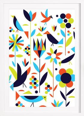Bird and Flower - Poster in Wooden Frame