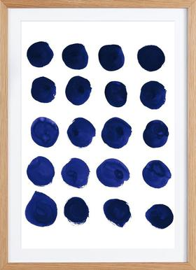 Blue Dots - Poster in Wooden Frame