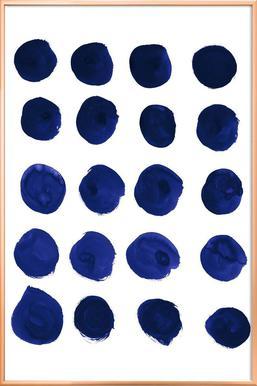 Blue Dots Poster in Aluminium Frame