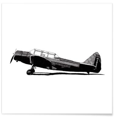 Fairchild Plane Pencil Drawing Poster