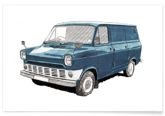 Ford Van Pencil Drawing Poster