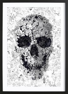 Doodle Skull BW Framed Print