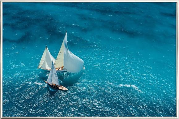 Croisement bleu - Marc Pelissier -Poster im Alurahmen