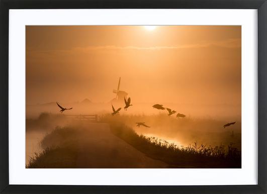 Sunrise Flight - Harm Klaverdijk affiche sous cadre en bois