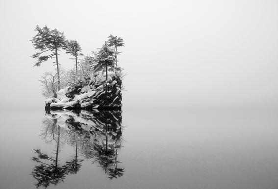 Little Island - Ikuo Iga tableau en verre