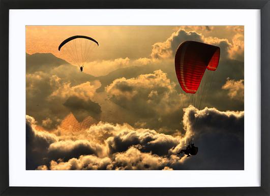 Paragliding 2 - Yavuz Sariyildiz affiche sous cadre en bois