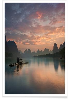 Li River Sunrise - Yan Zhang affiche