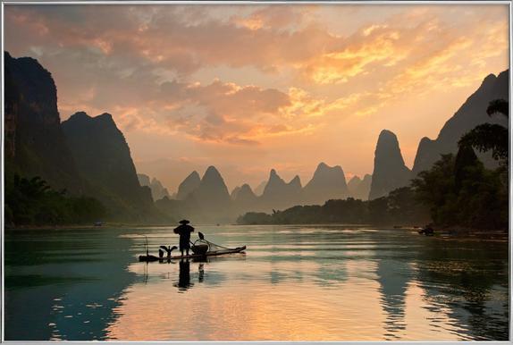 Golden Li River - Yan Zhang poster in aluminium lijst