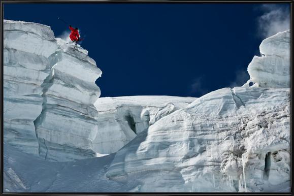 Cliff Jumping - Tristan Shu -Bild mit Kunststoffrahmen