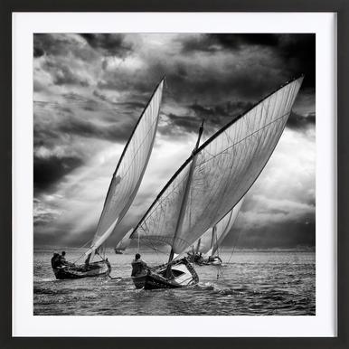 Sailboats And Light - Angel Villalba Framed Print