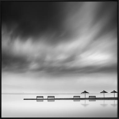 Four Benches And Three Umbrellas - George Digalakis