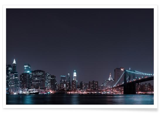 Manhattan Skyline and Brooklyn Bridge poster