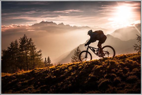 Golden Hour Biking Poster in Aluminium Frame