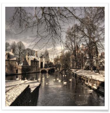 Bruges in Christmas Dress - Yvette Depaepe poster