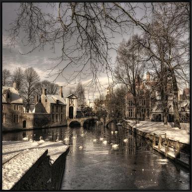 Bruges in Christmas Dress - Yvette Depaepe Framed Poster