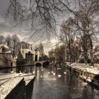 Bruges in Christmas Dress - Yvette Depaepe Canvas Print