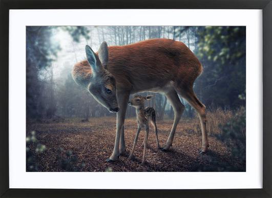 Mother and Fawn - John Wilhelm affiche sous cadre en bois