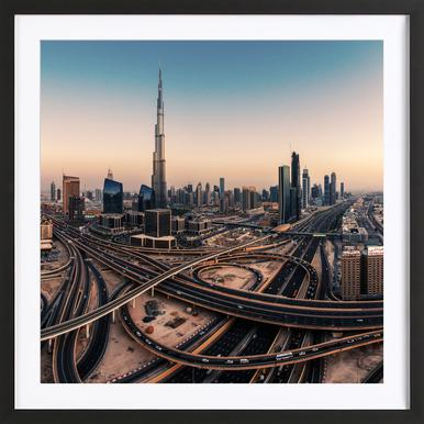 Dubai Skyline Panorama - Jean Claude Castor affiche sous cadre en bois