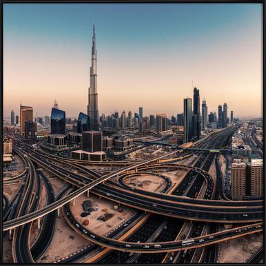 Dubai Skyline Panorama - Jean Claude Castor ingelijste poster