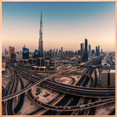 Dubai Skyline Panorama - Jean Claude Castor poster in aluminium lijst