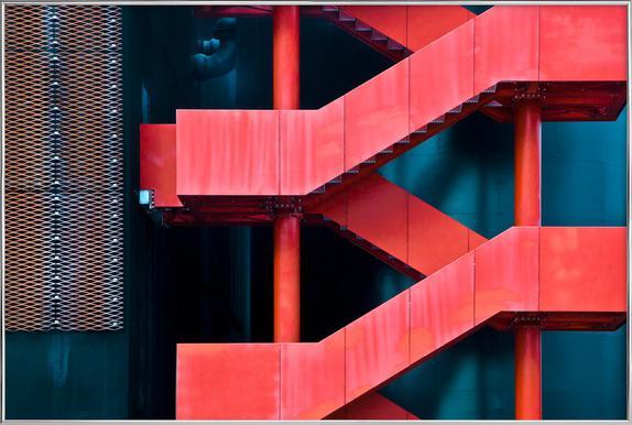 Red Route - Linda Wride Poster in Aluminium Frame