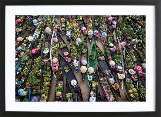 Pasar Terapung - Insan Kamil affiche sous cadre en bois