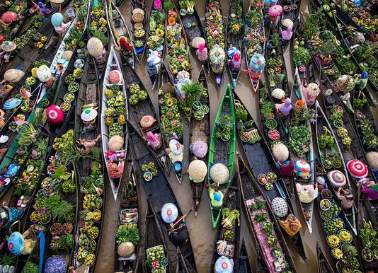 Pasar Terapung - Insan Kamil canvas doek
