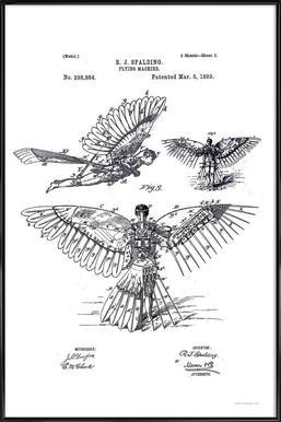 Flying Machine, Patent 1889 Framed Poster