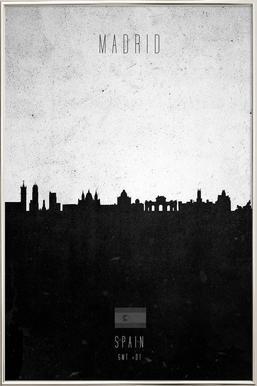 Madrid Contemporary Cityscape Poster in Aluminium Frame