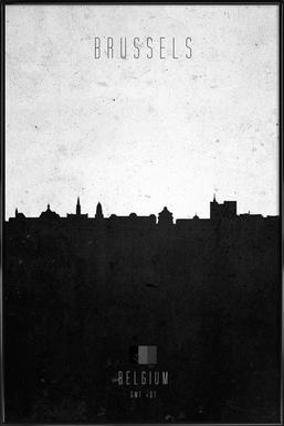 Brussels Contemporary Cityscape Framed Poster