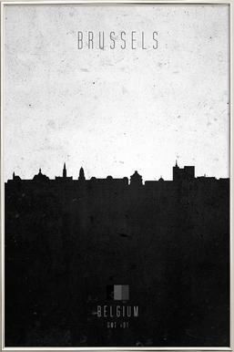 Brussels Contemporary Cityscape Poster in Aluminium Frame