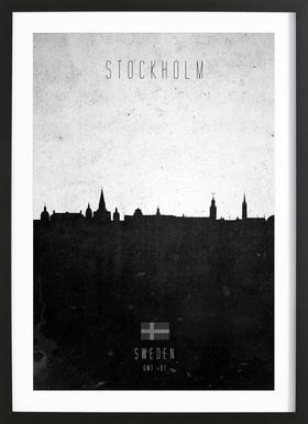 Stockholm Contemporary Cityscape -Bild mit Holzrahmen