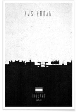 Amsterdam Contemporary Cityscape Poster