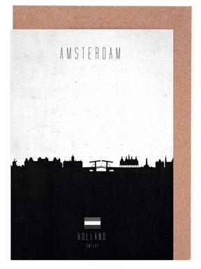 Amsterdam Contemporary Cityscape Greeting Card Set