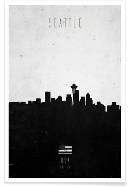 Seattle Contemporary Cityscape Poster