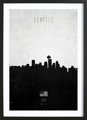 Seattle Contemporary Cityscape Framed Print