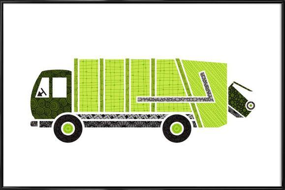 Müllwagen -Bild mit Kunststoffrahmen