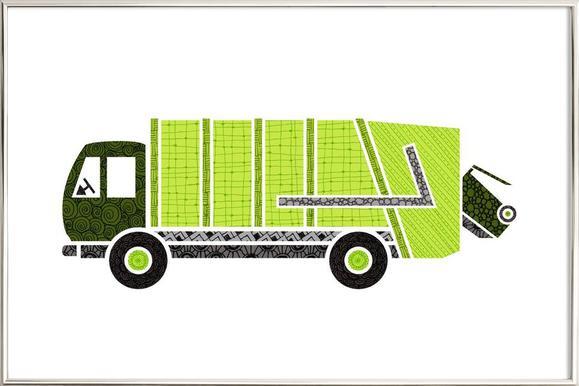 Müllwagen -Poster im Alurahmen
