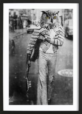 Owl Man -Bild mit Holzrahmen
