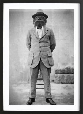 Walrus Man -Bild mit Holzrahmen