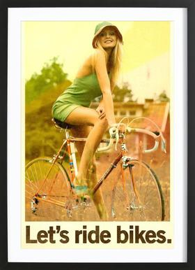 Let's Ride Bikes - Poster in Wooden Frame